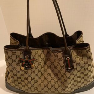 Gucci Mayfair GG Canvas Leather Tote Shoulder Bag
